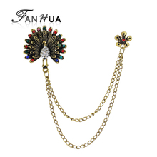 FANHUA Women Accessories Style Antique Gold-Color with Colorful Rhinestone Peacock Brooches Pins with Chain for Fashion Lady