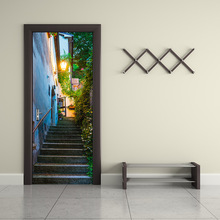 Home Decor Creative DIY 3D Door Stickers San Marino Street Pattern for Kids Room Home Decoration Accessories Wall Sticker Decals