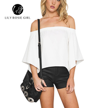 Summer 2016 Off Shoulder White Women Blouse Open Back Batwing Sleeve Elegant Party Beach Ladies Shirts Tops Blusas Feminina