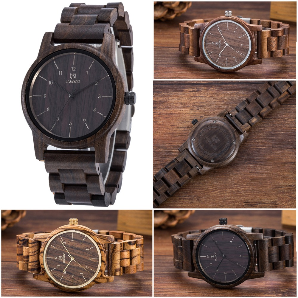 New Brand Mens Watches Retro Japan Quartz Battery Wood Watch Wooden Band Mens Black Walnut Wood Wristwatches For Men Watches<br>