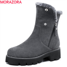 MORAZORA 2018 new arrival ankle boots for women round toe suede leather zipper platform shoes woman warm winter snow boots (China)