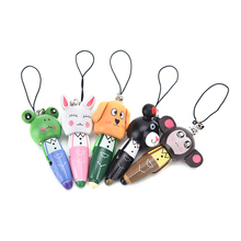 1PC Wooden Cute Cartoon Animals Short Pens Mobile Phone Pendant Wood Ballpoint Pen(China)