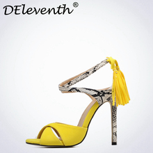 DEleventh New Style Summer Yellow Tassel Peep Toe Stiletto High Heels Shoes Woman Snake Skin Cross-tied Slingback Sandals Black(China)
