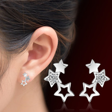 2017 New Arrival Star Pattern Shiny Stud Earrings for Women Girls Gift Jewelry Clear CZ Crystal Stud Earrings Fashion Jewellery