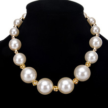 Free Shipping Fashion Noble Copper Alloy Necklace White Round Simulated Pearl Imitation Jewel Pendant Jewellery Necklace