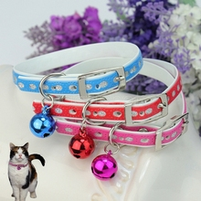 "2Pcs Colors Cute Pet Dog Cat Kitty Kitten Neck Collar With Jingle Bell 12"" x 0.4"" Stylish(China)"