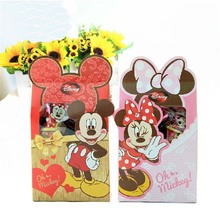 Free Shipping 10 X Minnie/Mickey Wedding Candy Box Children Birthday Gift Box Baby Shower  Party Favor Box