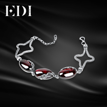 EDI Women 925 Sterling Thai Silver Bracelet Anklets For Women Chalcedony Mystic Red Garnet DIY Bracelets Bohemian Leg Jewelry(China)