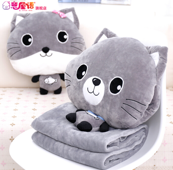 Plush 1pc 48cm sweet gray cat warm rest office cushion + vehicle blanket high quality stuffed toy romantic gift for baby<br>