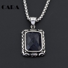 New Arrival men's antique stainless steel Navy Starry sky square rhinestone pendant necklace hip hop chokers necklace CAGF0011(China)