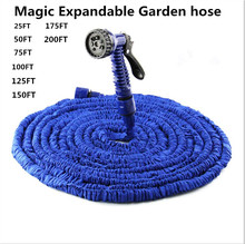 25FT-200FT Garden Hose Expandable Magic Watering Hoses Garden Water Pipe With Spray Gun For Drip Irrigation Car Watering(China)