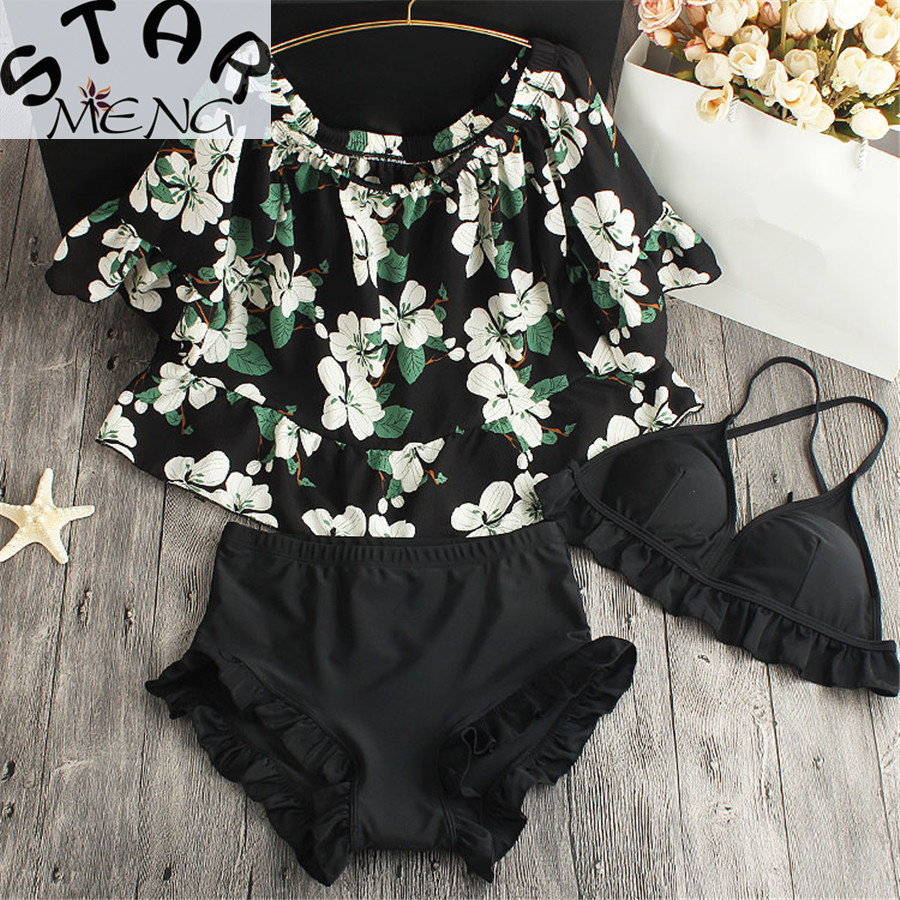 2017 Hot Sale Staerk Girl Sakura Sexy Ruffle Sleeve Belt Poem Small Shirt Cute Swimwear Bikinis Swimsuits Gathered Three Chest <br>