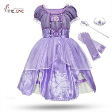 MUABABY Princess Summer Dresses Girls Sofia Cosplay Costume 5 Layers Children Kids Halloween Birthday Party Tutu Dresses Fantasy(China)