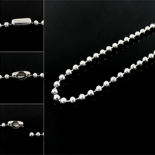 2PCS/Lot 2mm Stainless Steel Silver Ball Beads Chain Men Necklace Bracelet Keychain Trinket Dog Tag Jewelry Making Accessories