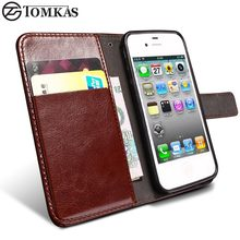 TOMKAS 4S Flip Wallet PU Leather Case For iPhone 4 4S Cover Vintage Coque Phone Bag Cases For Apple iPhone 4S With Card Holders(China)