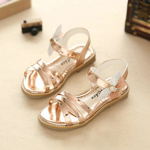 Girls Princess Sandals 2017 New Summer Brand Rhinestone Letters Children Shoes Kids Party Shoe for Girl Sandal Gold Pink
