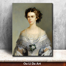 classical court figures princess pearl necklace portrait oil paintings canvas printing printed on canvas art decoration picture(China)