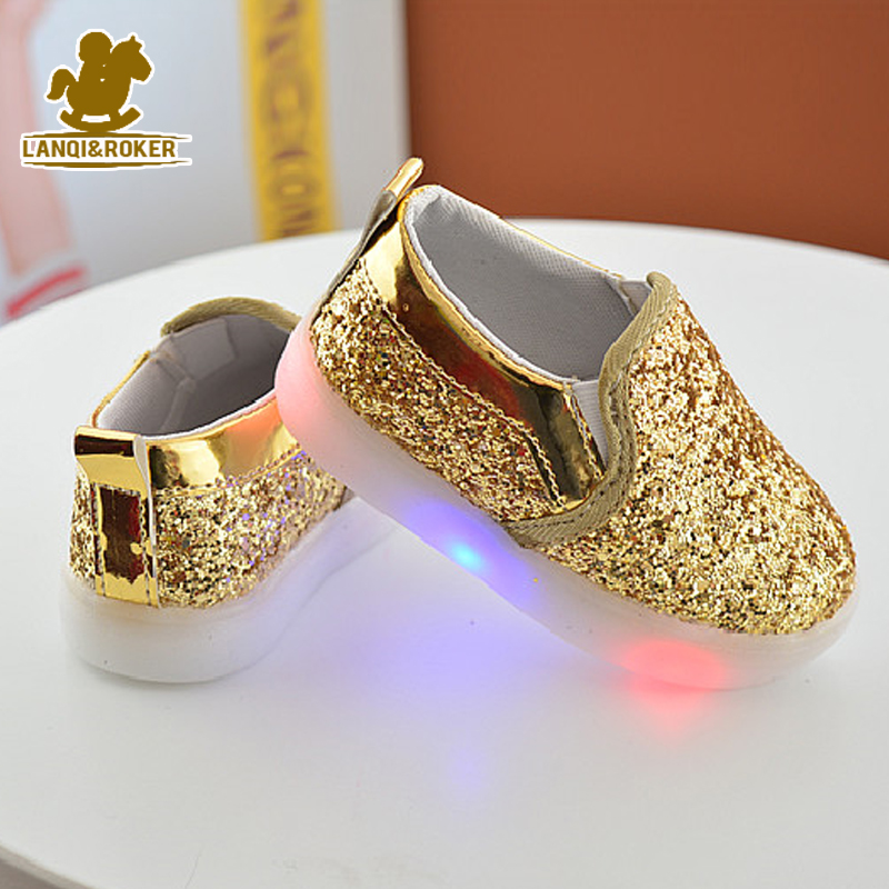 2017 New Baby Children Shoes Kids Led Flash Sneakers Spring Autumn Fashion Sequin Sneakers Girls Princess Lightning Shoes 21-30<br><br>Aliexpress