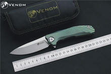VENOM Kevin John new conc M390 Titanium Flipper folding knife ceramic ball bearing camping hunting pocket knife EDC tools