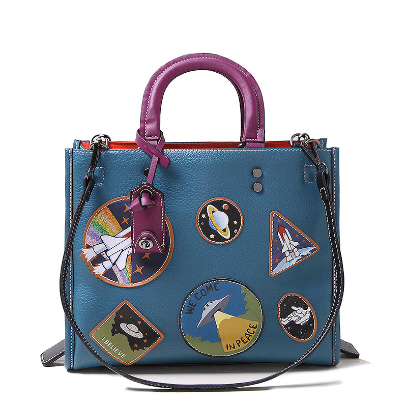 Designer Luxury Brand Individuality Space Quality Leather Lady Blue Cartoon Handbag Shoulder Bag Female for Girl Christmas Gift<br>