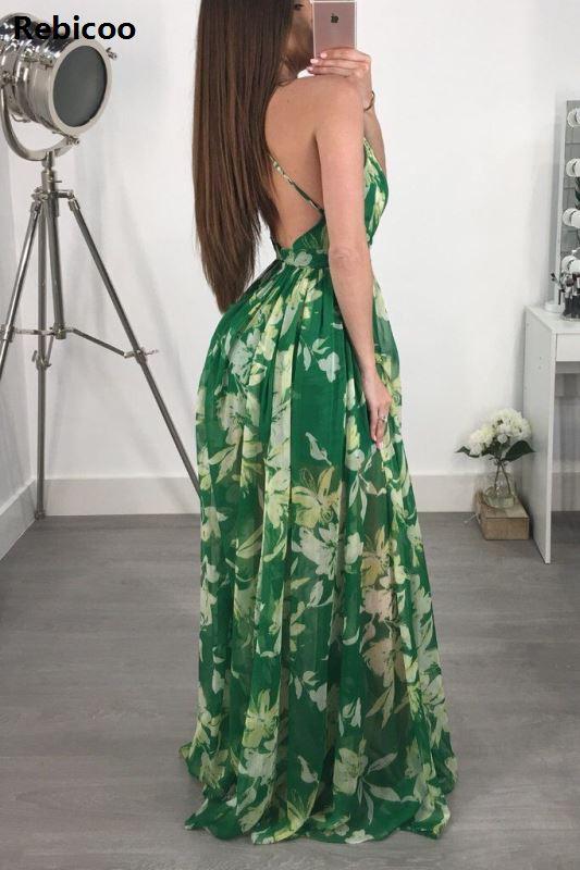 Women Maxi Bohemian Style Deep V Neck Backless Long Party Dress