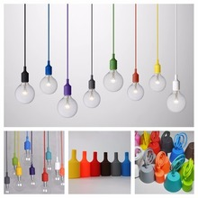 E27 Socket Chandelier light Fixture Hanging line Colorful Silicone Rubber Ceiling Pendant Lamp Base Holder