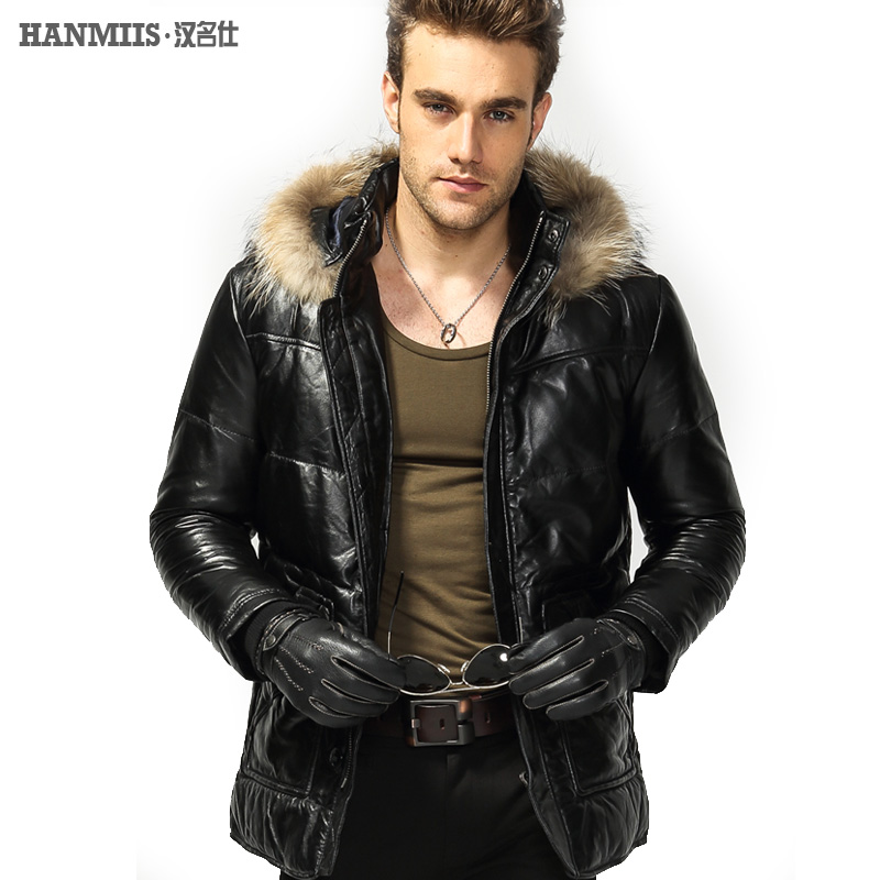 Hanmiis 2017 luxury with a hood sheepskin genuine leather clothing male medium-long thickening down coat