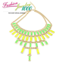 New Fashion Brand Neon Color Resin Stone Chunky Statement Choker Necklace Jewelry For Women Free Shipping