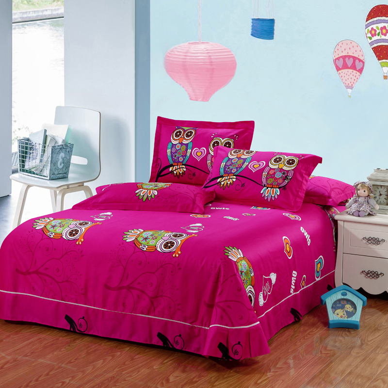 Aliexpress Com 100 Cotton Kids Boys Owl Bedding Set Twin Queen King Size Bed Linen Sheet Duvet Cover For Christmas 6 4 3 Pcs From Reliable