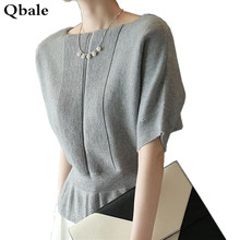 Qbale Korean Fashion Elegant Women Pullover Sweater Short Sleeve Summer Batwing Tops Ladies Slash Neck Thin Knitwear Jumpers