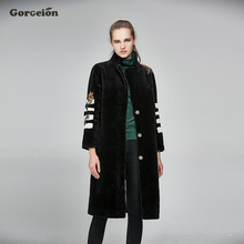 Gorgeion Fur Winter Coat Flocking Winter Nine Quarter Sleeve Embroidery Coat Jackets Plus Size Faux Fur Women Outerwear NP-01(China)