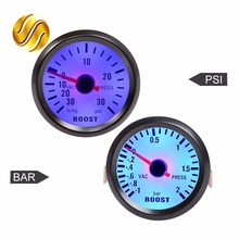 "Car Gauge 2"" 52mm Bar Turbo Boost Gauge -1~2 Bar / -30~30 PSI Vacuum Press Meter for Auto Blue Light Black Rim Shell 12V"