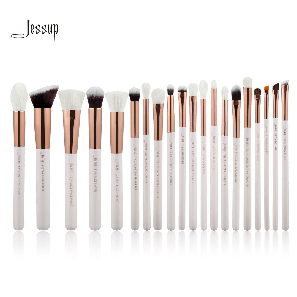 Jessup Pearl White/Rose Gold Professional Makeup Brushes Set Make up Brush Tools kit Foundation Powder Brushes <br>