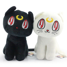 "Newest Sailor Moon 12""30CM 2pcs/lot Black Luna Cat and White Artemis Cat Plush Doll Toy Free Shipping(China)"
