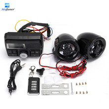 Waterproof Motorcycle Alarm Anti-Theft Device Motorbike MP3 Player Handlebar Radio Stereo 2X Speaker Anti-theft Scooter Lock