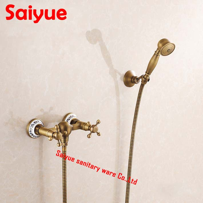 Vintage Antique Brass Wall Mount Handheld Tub Shower Faucet shower mixer tap set  dual Handle Wall-Mount<br><br>Aliexpress