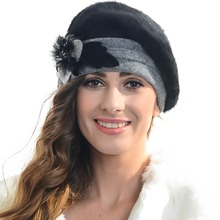 2017 Women Angora Beret Beanie Skullcap French Beret Winter Hat FORBUSITE