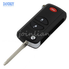 Dandkey 3 Buttons Remote Flip Key Shell Case For Chrysler Dodge Jeep 2 + 1 Panic PT Cruiser Town & Country Voyager Prowler