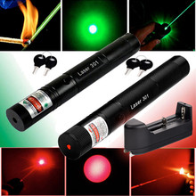 Military 532nm 50mw 303 Green Laser Pointer Lazer Pen Burning Beam Burning Match+Charger