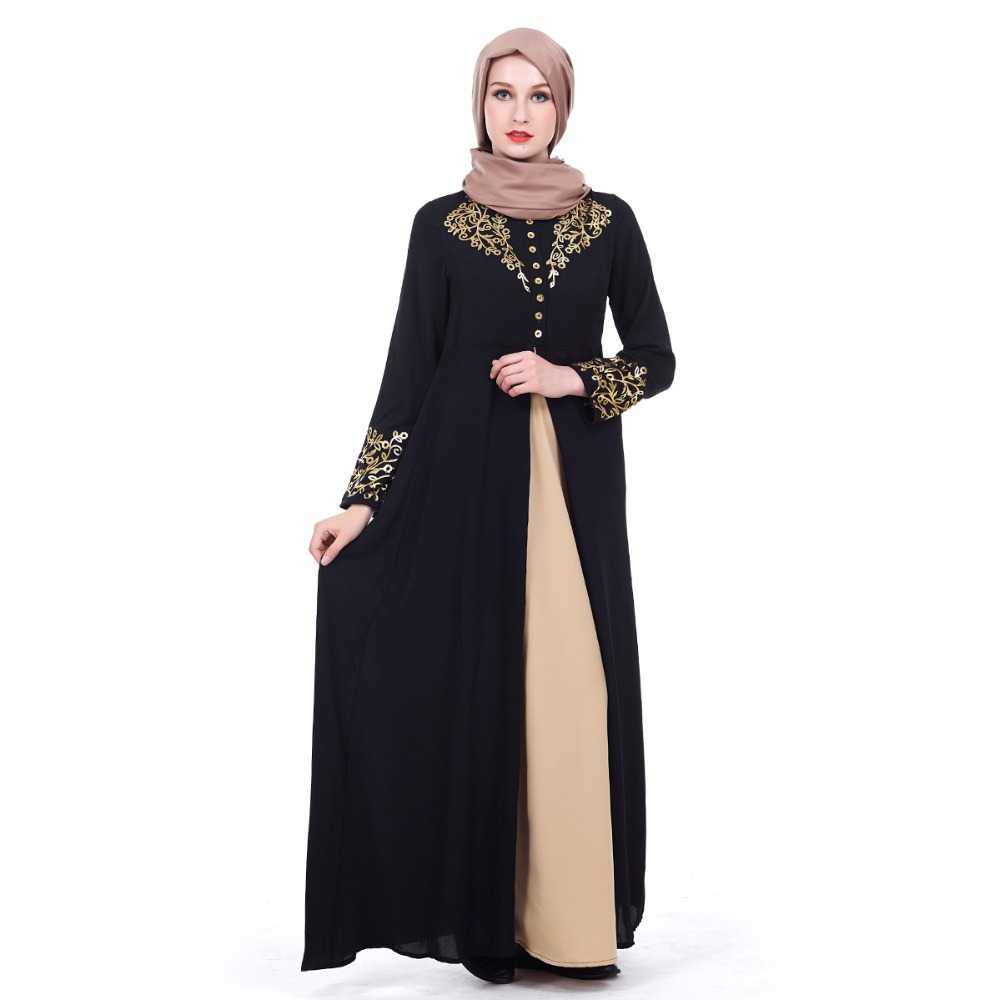 Detail Feedback Questions about Elegant Muslim Dresses Gold Printing ... fc273596387f