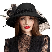 Black Women Wool Floral Veil Netting Feather Wide Brim Derby Hat Floppy Hat Fedoras Formal Occasion Dance Party Summer Beach Hat(China)