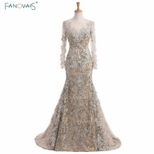 2017 Silver Mermaid evening Dresses long sleeves lace evening gowns kaftan dubai dresses muslim special occasion dresses abendkl