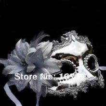Golden/Silver Side brought flowers mask 10pcs VintageCarnival Mask Venetian Mask 10pcs(China)