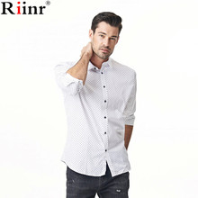 Riinr 2017 Brand New Arrival Camisa Spring Autumn High Quality Fashion Casual Polka Dot Cotton Blends Long Sleeve Mens Shirts(China)