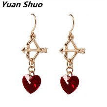 Dream crystal girl red heart Cupid's arrow Women's earrings free shipping Europe United States foreign trade jewelry wholesale(China)