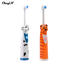 CkeyiN 2Pcs Battery Operated Electric Toothbrush+4 Brush Heads Sonic Revolving Tooth Brush Automatic Rotary Kids Toothbrushes(China)