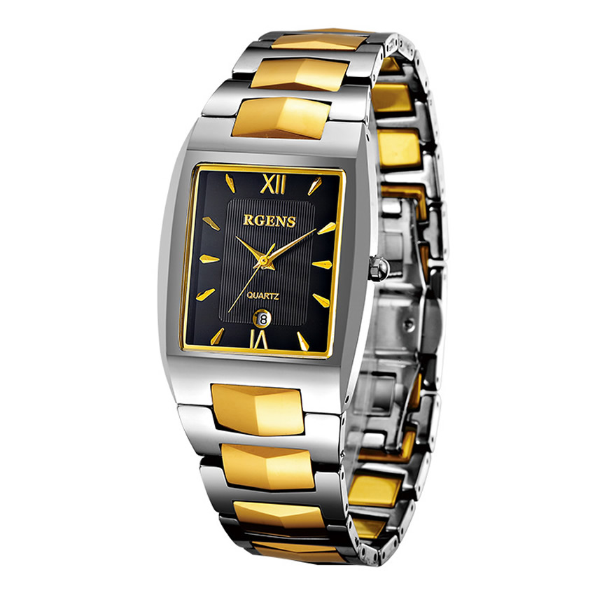luxury mens wrist watches Tungsten steel quartz clocks Square gold black male business Calendar waterproof Original wristwatch<br>