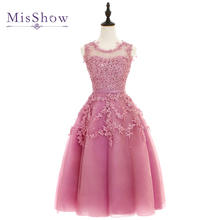 Cheap Dust Pink Beaded Lace Appliques Short Prom Dresses 2017 homecoming dresses vestido de festa Knee Length Party gala dress(China)