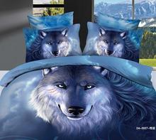100% cotton 7PC 3d BED IN A BAG California King Size blue WOLF romantic white swan animal queen size comforter set(China)