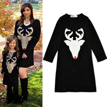 Family Matching Outfits Mother Daughter Dresses clothes 2017 Autumn for Mother & Kids Children's Clothing Print Deer dress